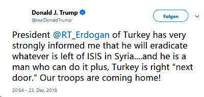 Trump Twitter Erdogan IS